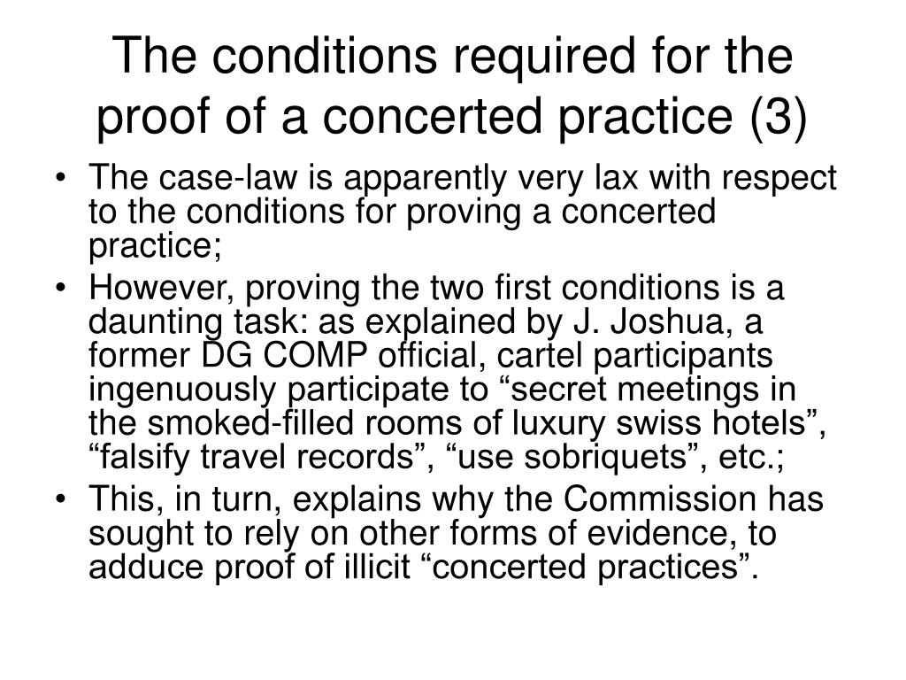 The conditions required for the proof of a concerted practice (3)