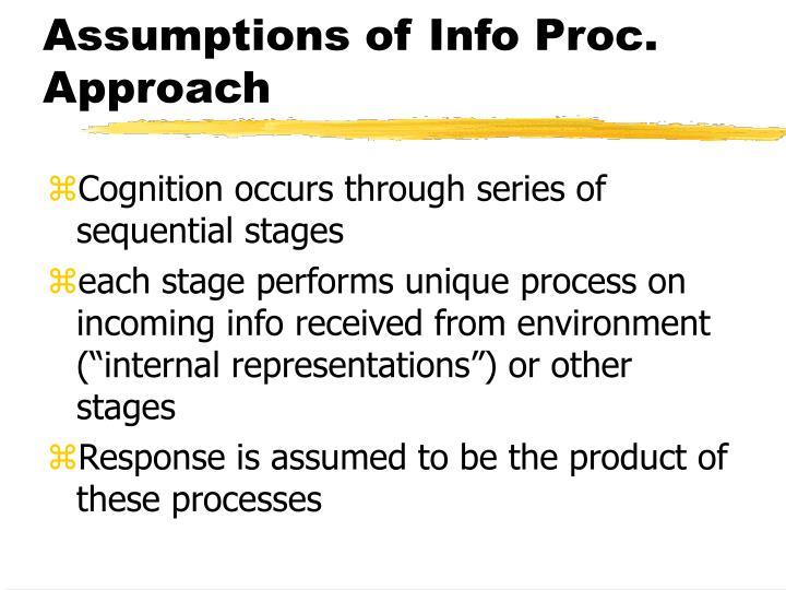 Assumptions of Info Proc. Approach