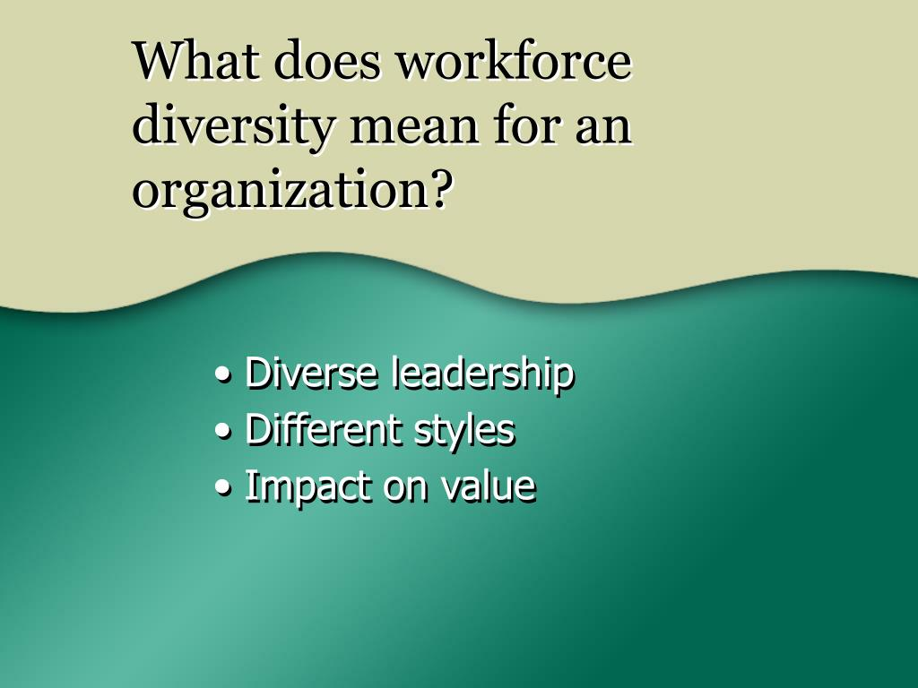 What does workforce diversity mean for an organization?
