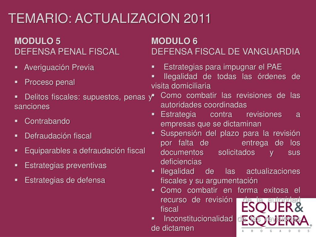 TEMARIO: ACTUALIZACION 2011