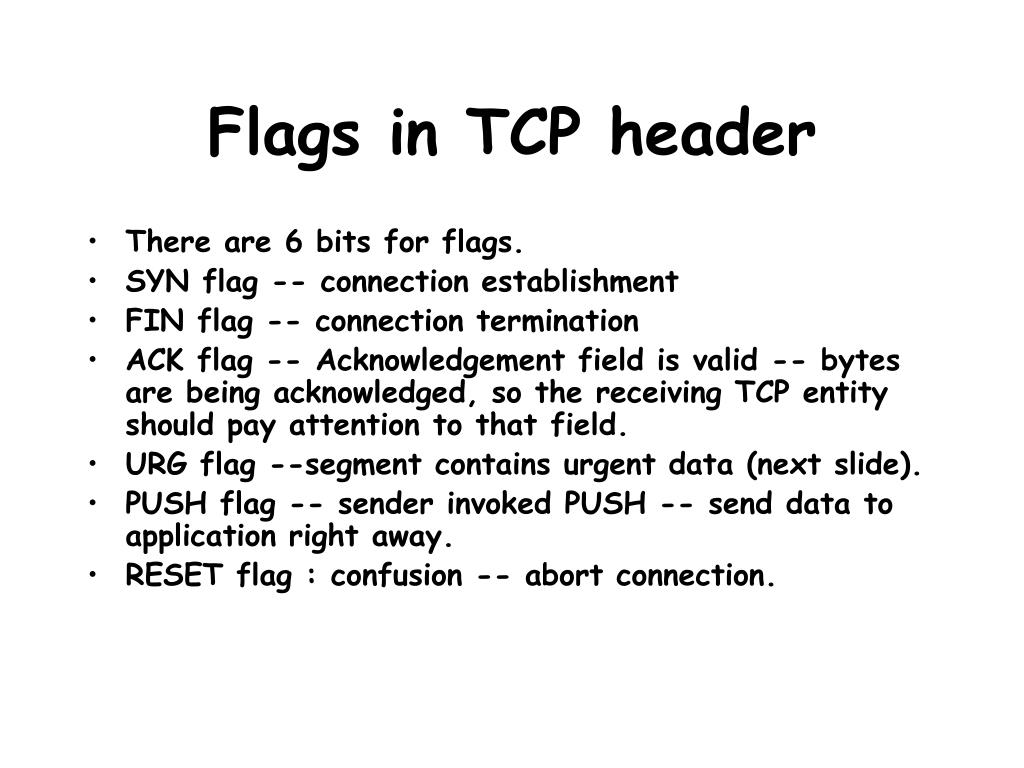 Flags in TCP header