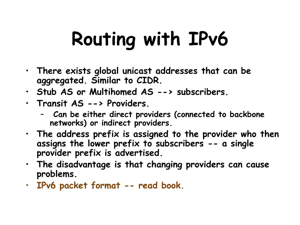Routing with IPv6