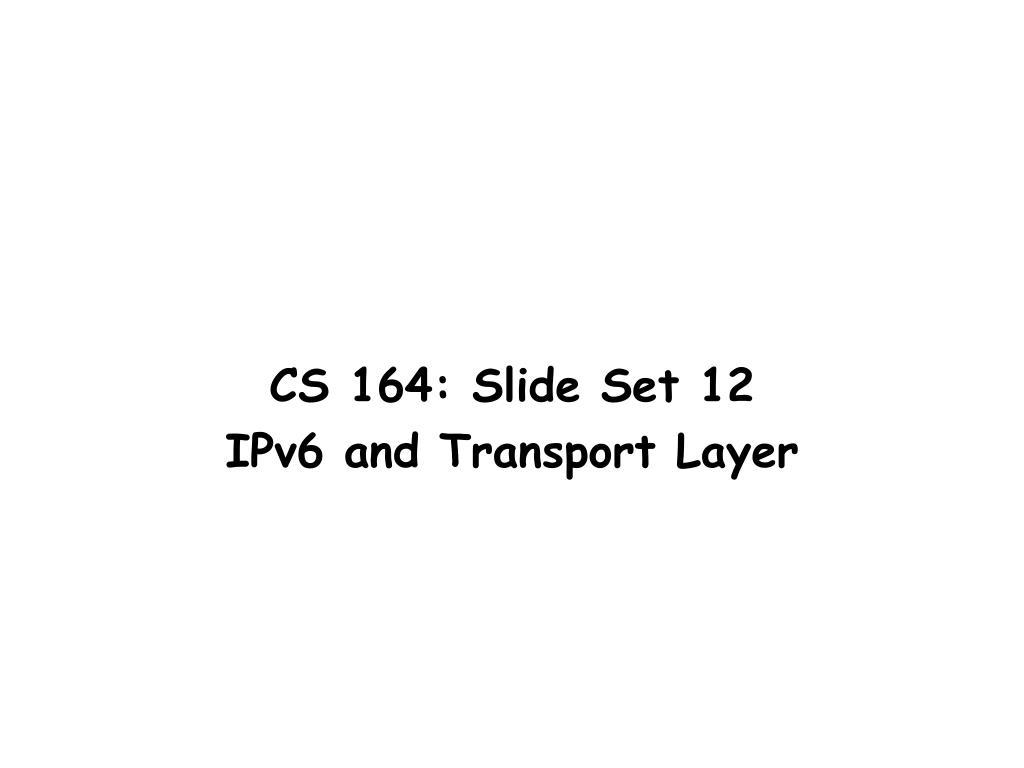 CS 164: Slide Set 12