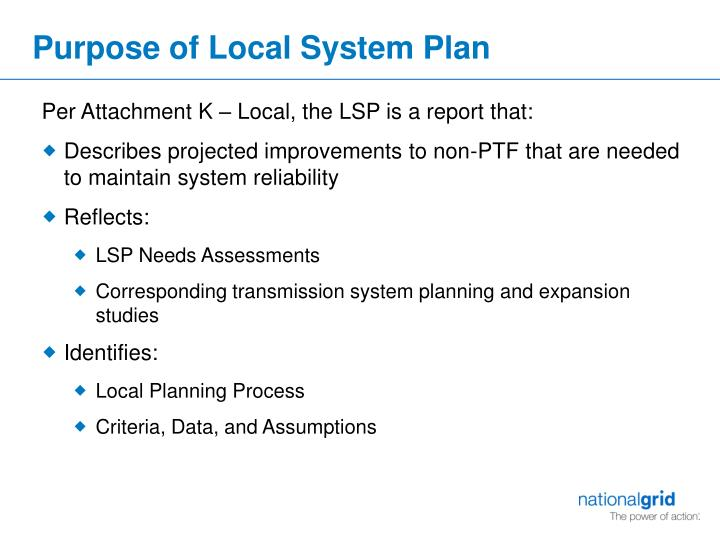 Purpose of local system plan