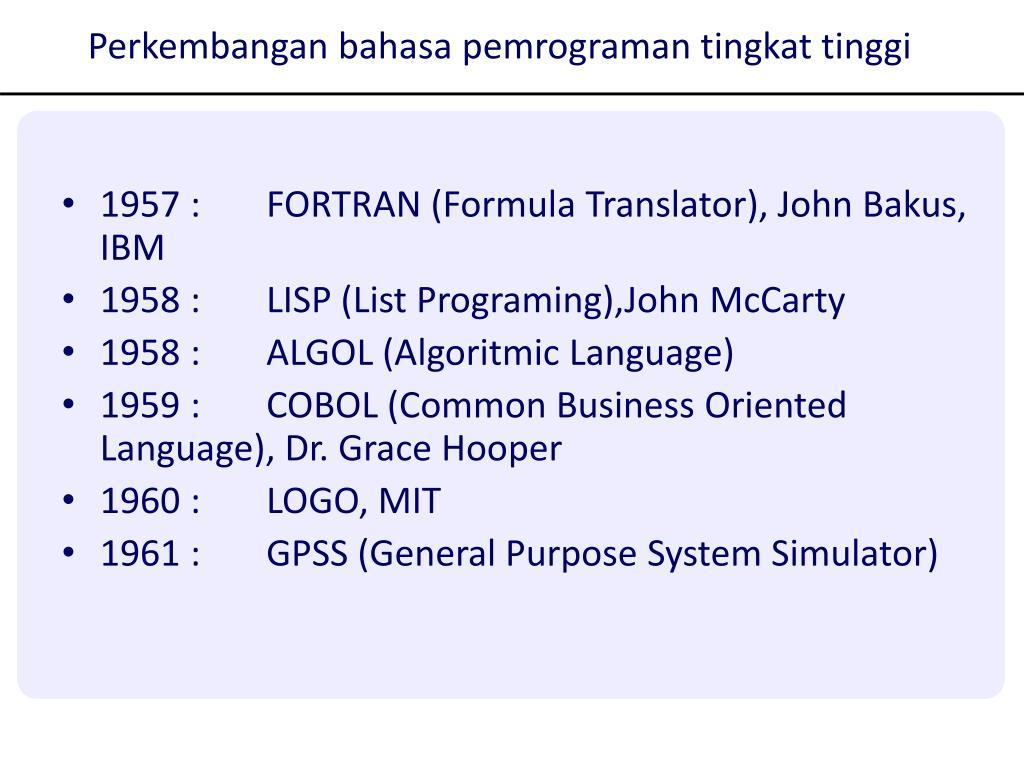 Perkembangan bahasa pemrograman tingkat tinggi