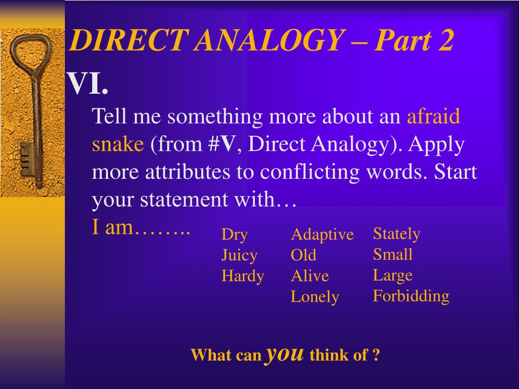 DIRECT ANALOGY – Part 2