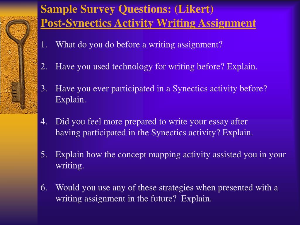 Sample Survey Questions: (Likert)