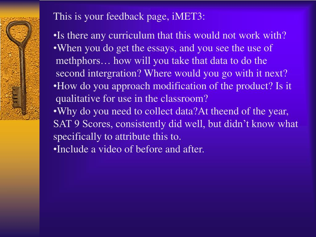 This is your feedback page, iMET3: