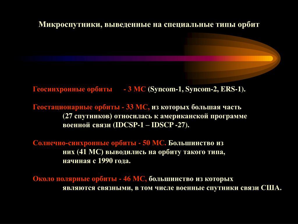 Микроспутники, выведенные на специальные типы орбит