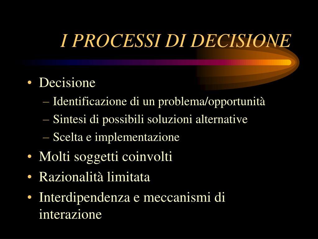 i processi di decisione