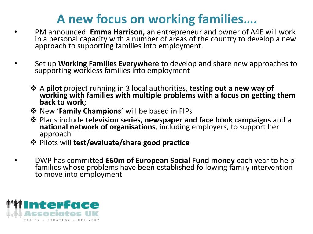 A new focus on working families….