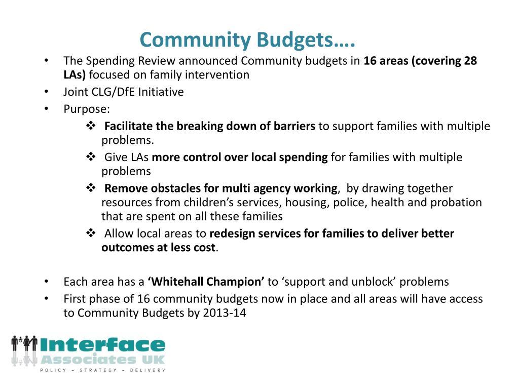 Community Budgets….