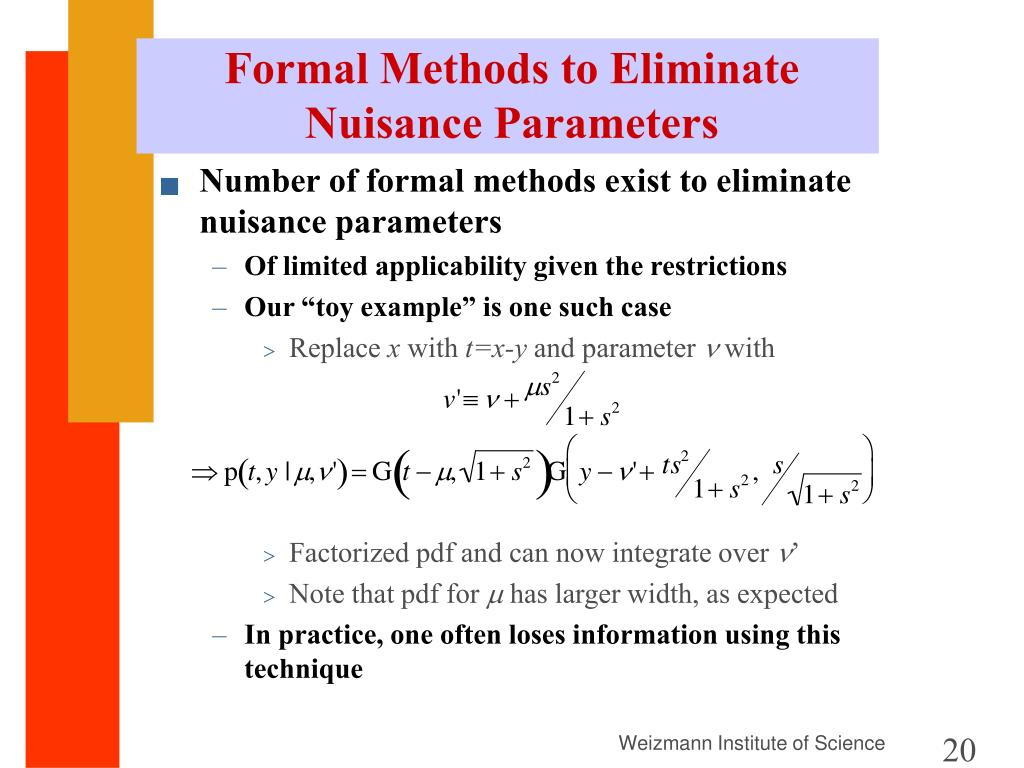 Formal Methods to Eliminate Nuisance Parameters