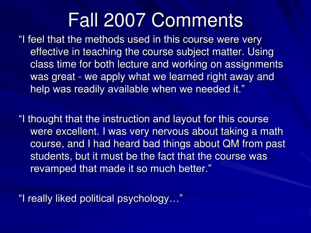 Fall 2007 Comments