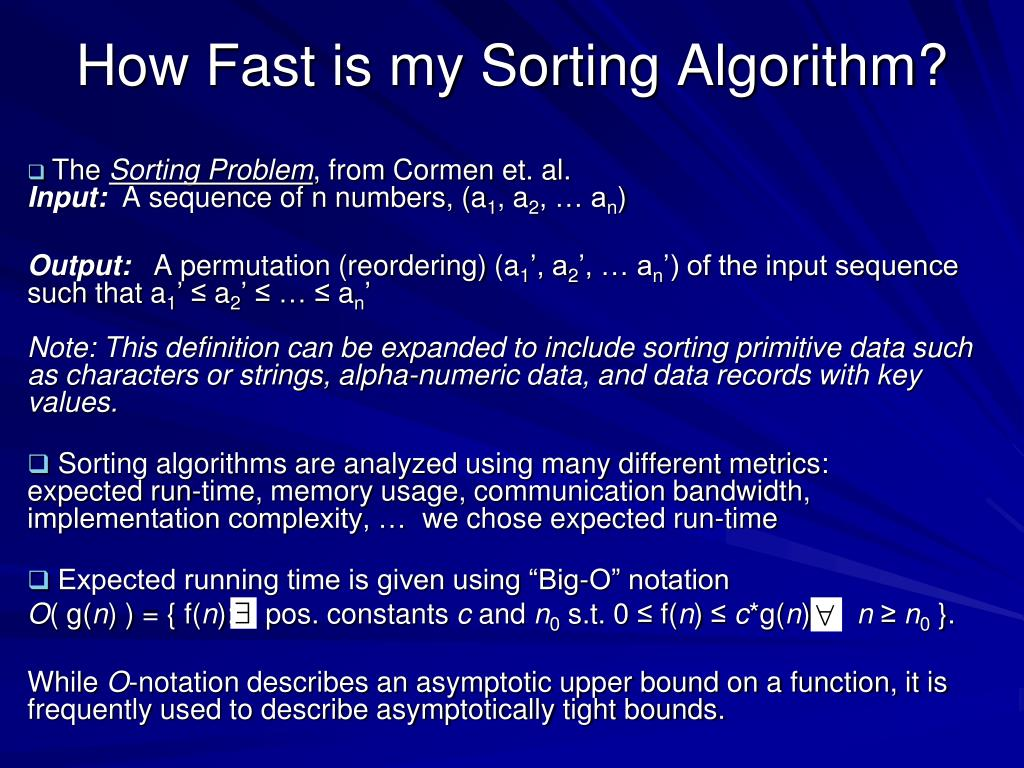 How Fast is my Sorting Algorithm