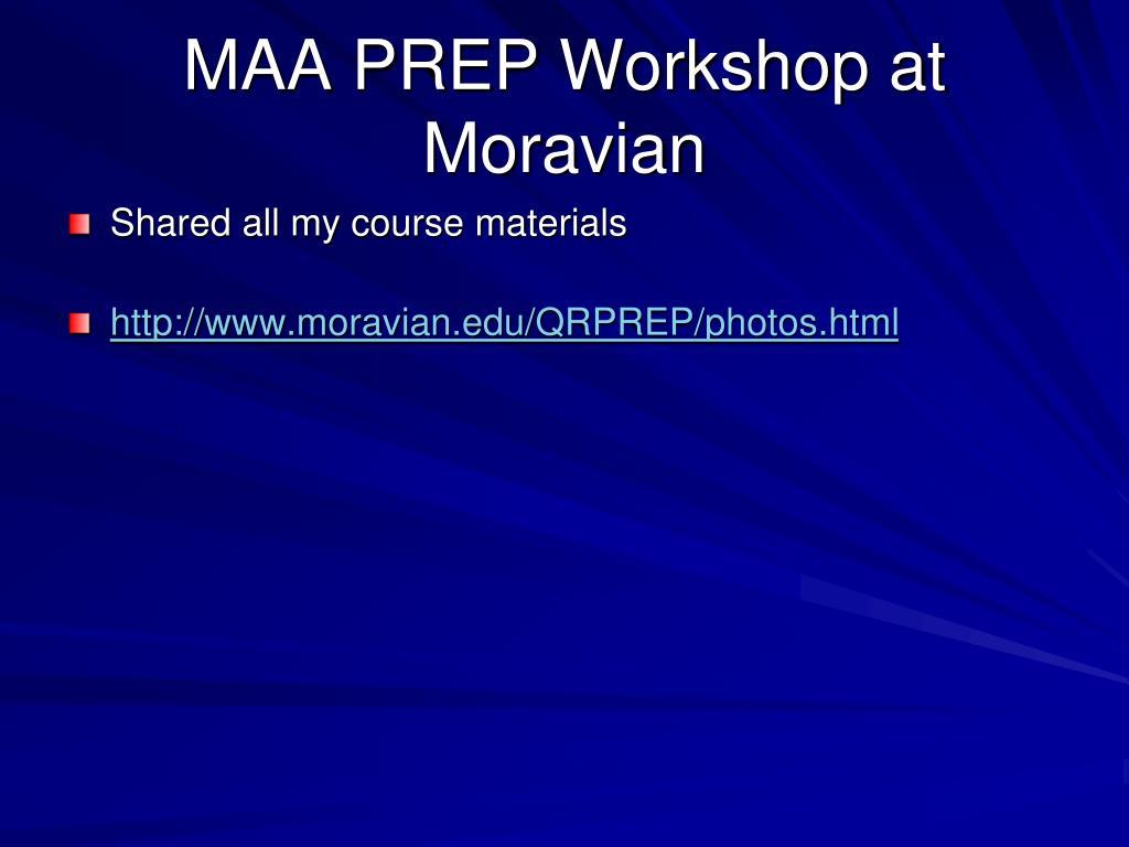 MAA PREP Workshop at Moravian