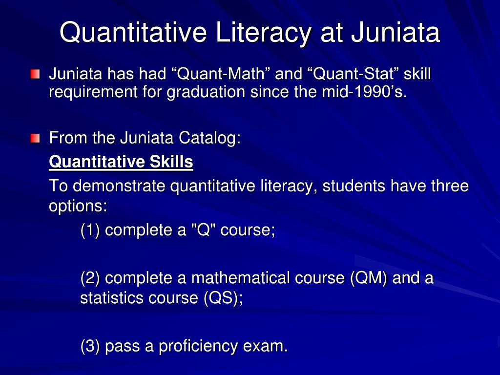Quantitative Literacy at Juniata