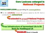 core lexicons enlarged in national projects