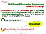target multilingual knowledge management technical feasibility