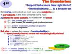 the boundaries support verbs more than light verbs nominalisations to a broader set