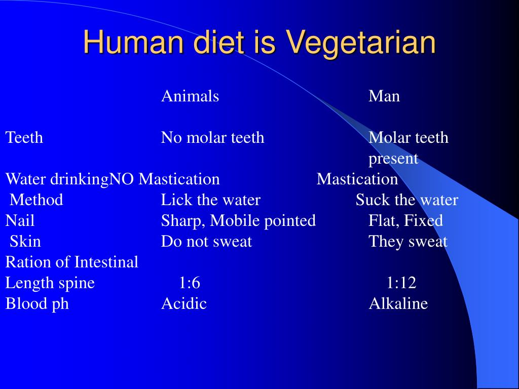 Human diet is Vegetarian
