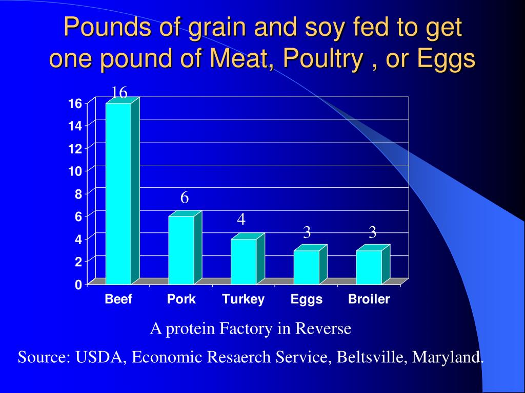 Pounds of grain and soy fed to get one pound of Meat, Poultry , or Eggs