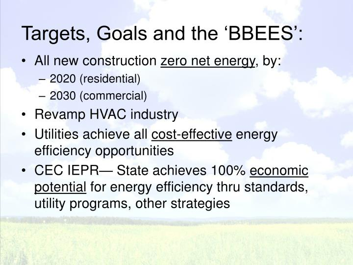 Targets goals and the bbees