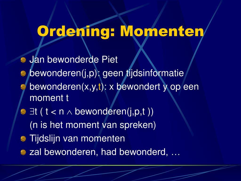 Ordening: Momenten