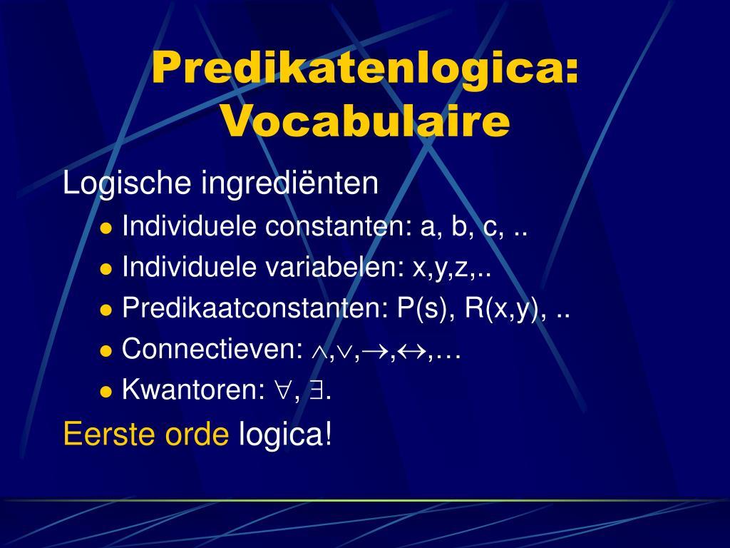 Predikatenlogica: Vocabulaire