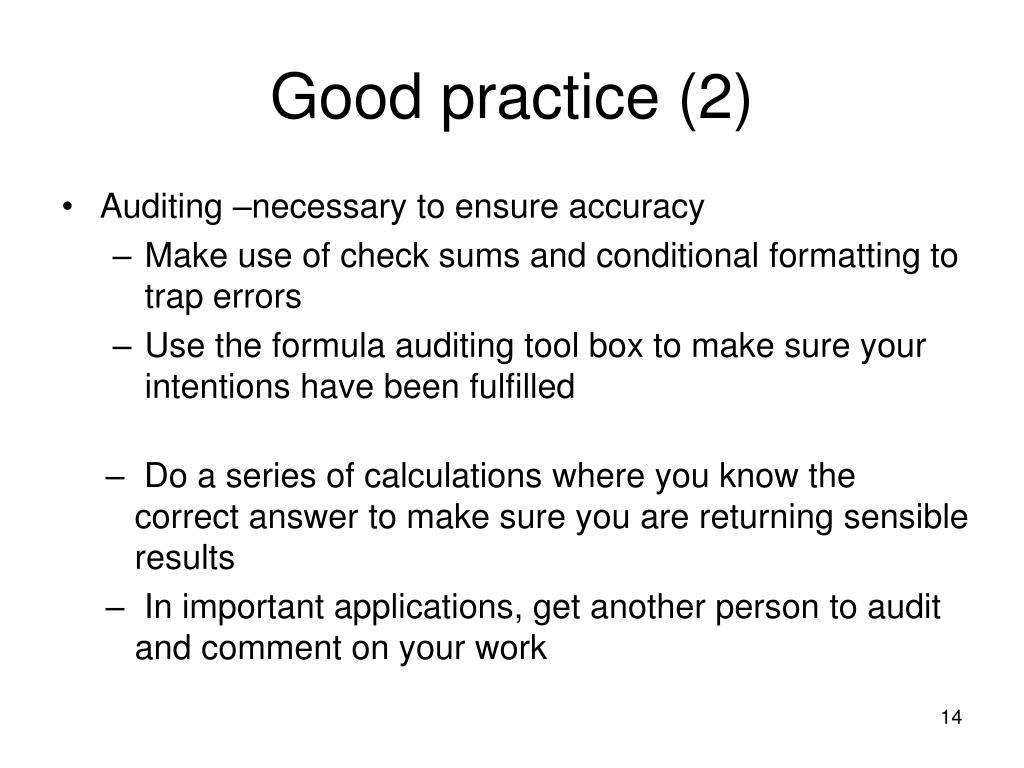 Good practice (2)