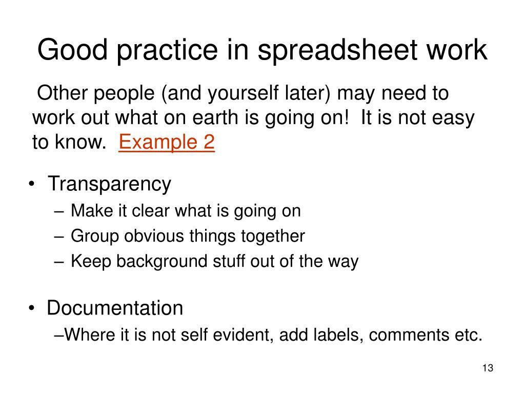 Good practice in spreadsheet work