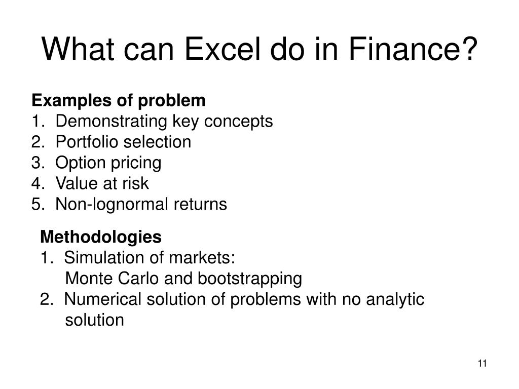 What can Excel do in Finance?