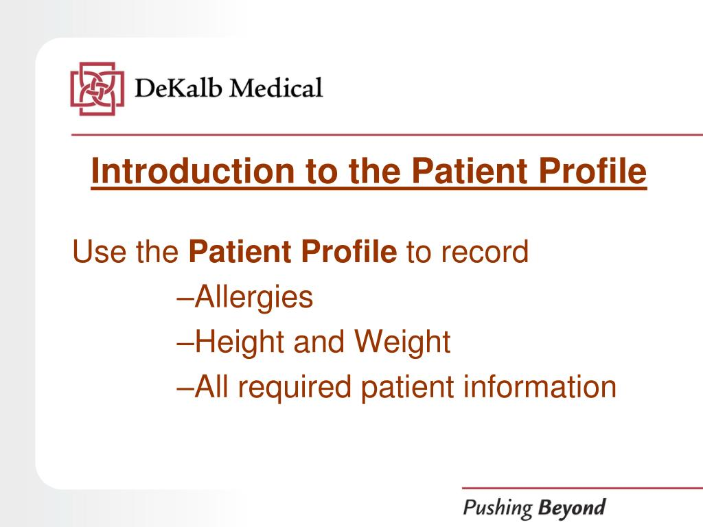 Introduction to the Patient Profile