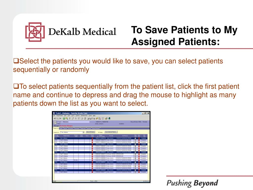 To Save Patients to My Assigned Patients: