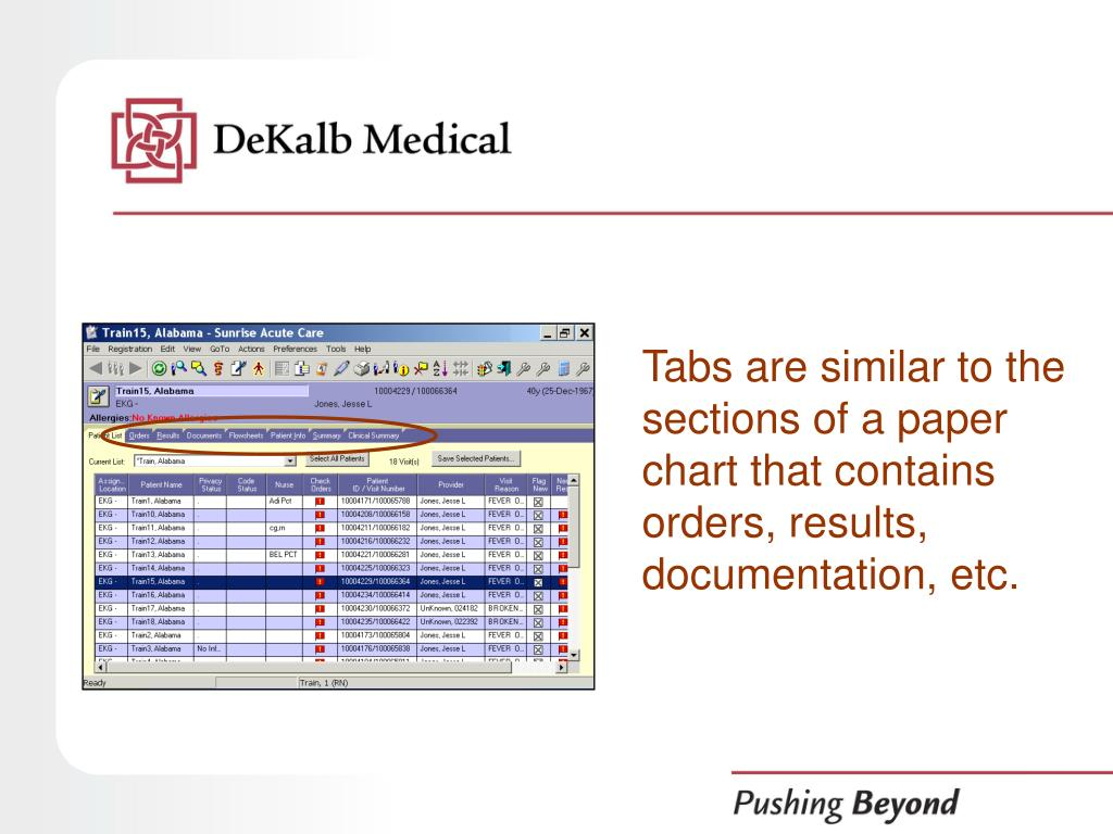 Tabs are similar to the sections of a paper chart that contains orders, results, documentation, etc.