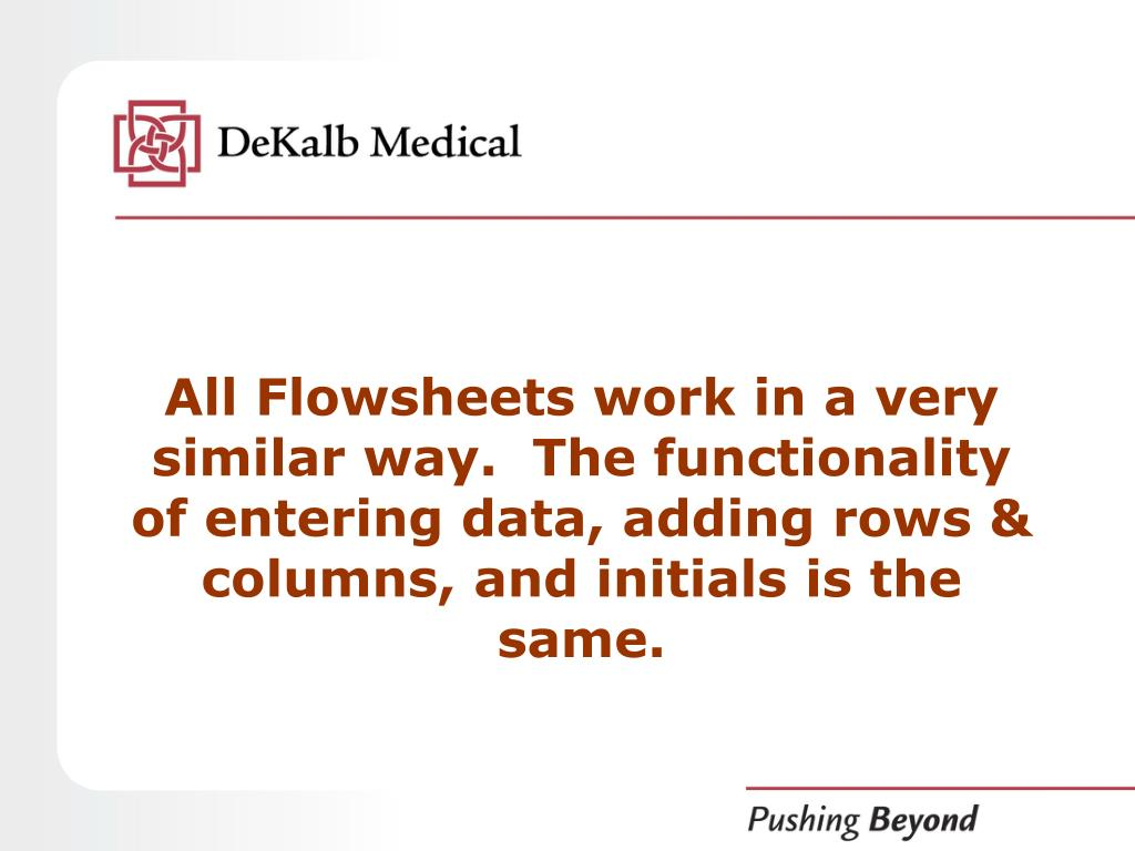 All Flowsheets work in a very similar way.  The functionality of entering data, adding rows & columns, and initials is the same.