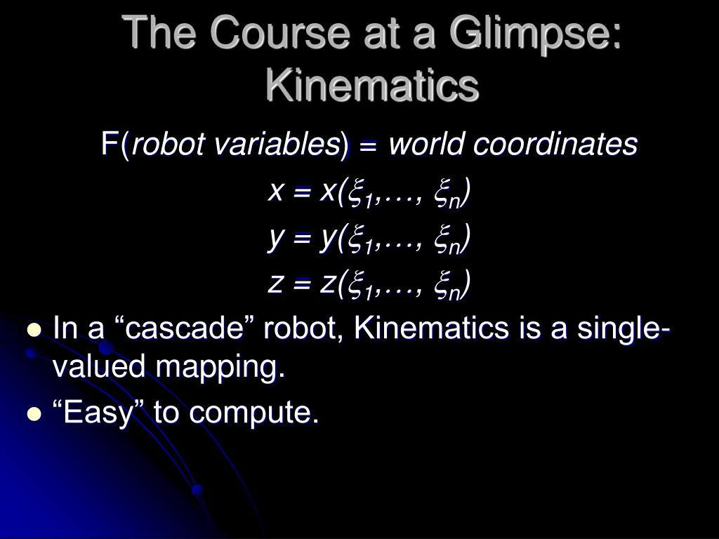 The Course at a Glimpse: Kinematics