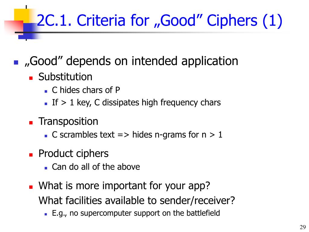 "2C.1. Criteria for ""Good"" Ciphers (1)"