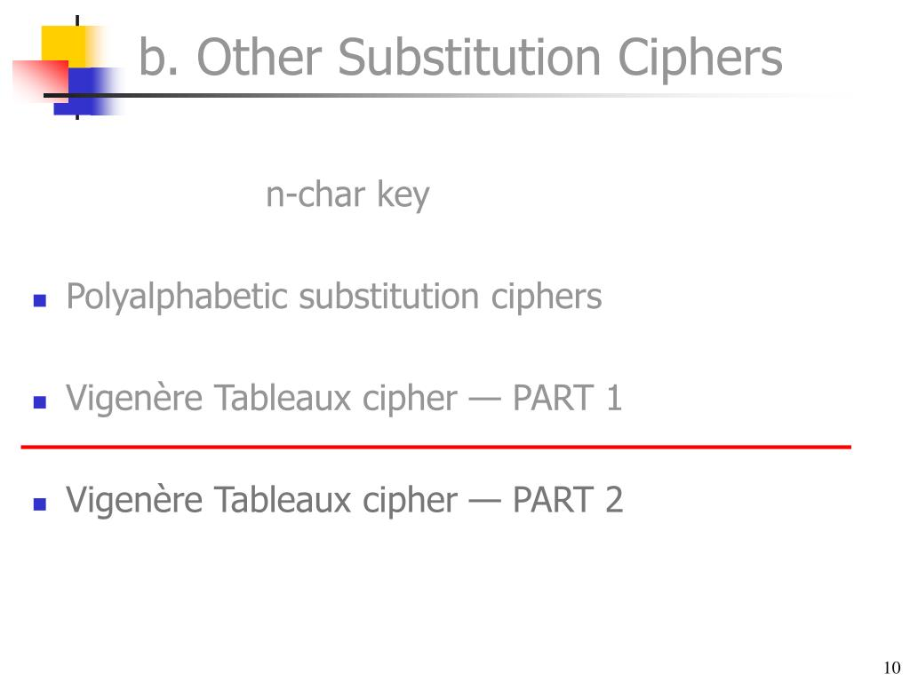 b. Other Substitution Ciphers