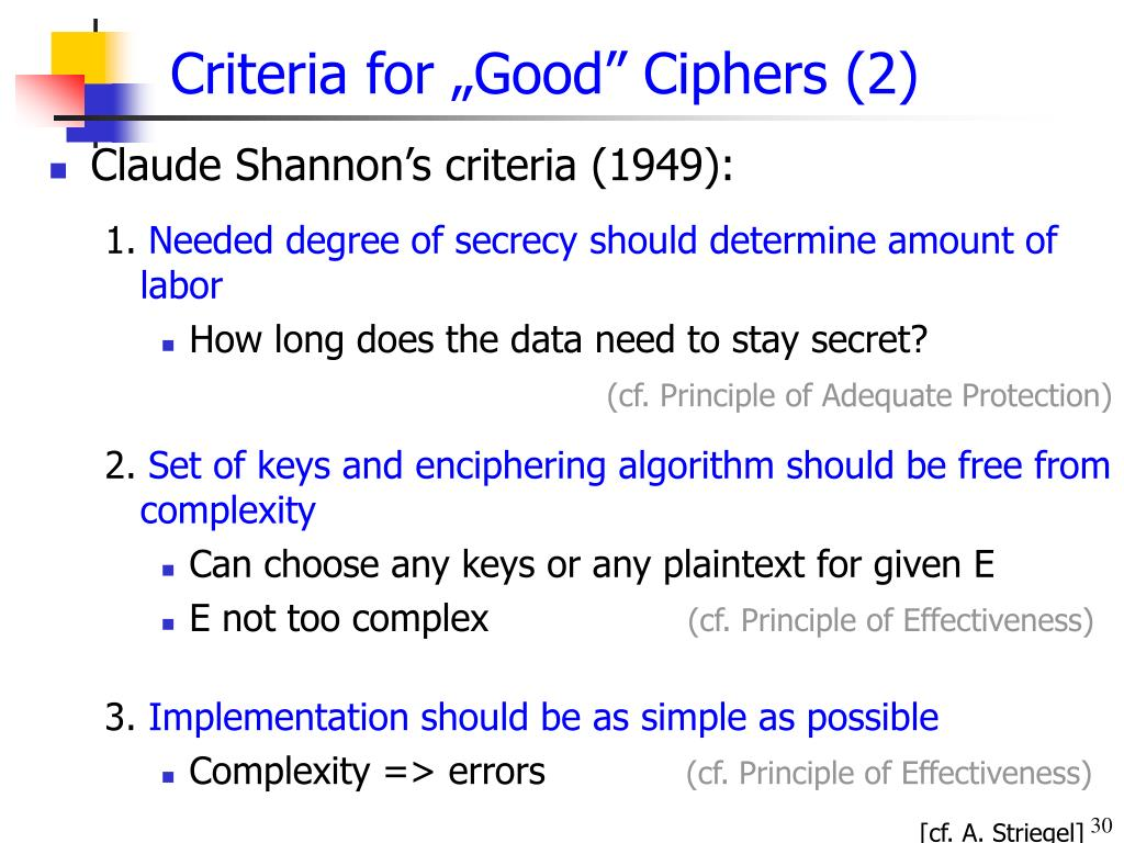 "Criteria for ""Good"" Ciphers (2)"