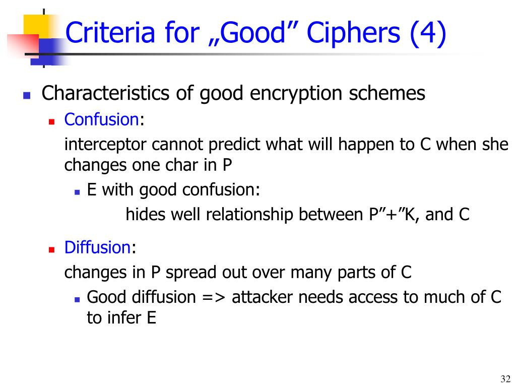 "Criteria for ""Good"" Ciphers (4)"