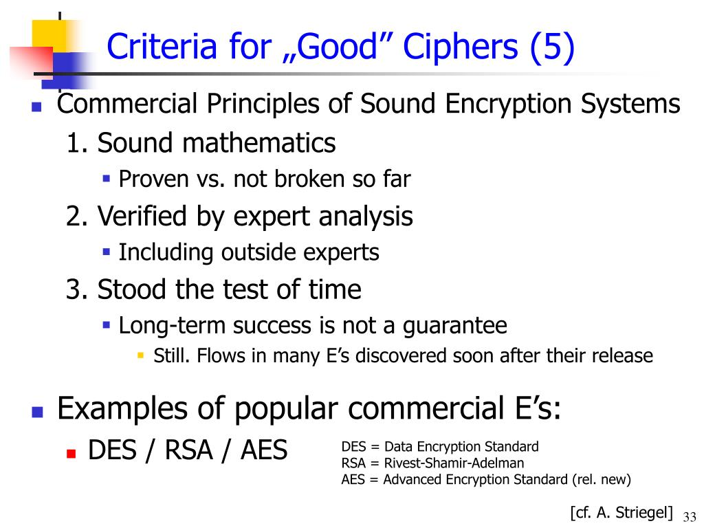 "Criteria for ""Good"" Ciphers (5)"