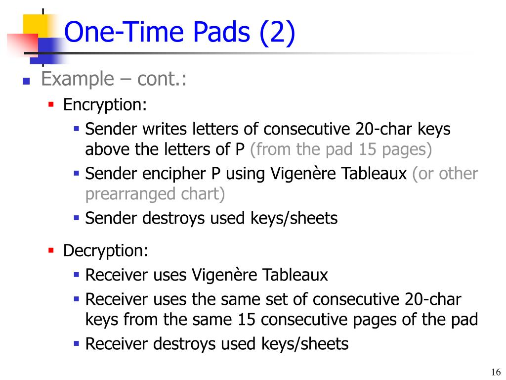 One-Time Pads (2)