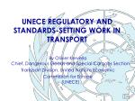 unece regulatory and standards setting work in transport