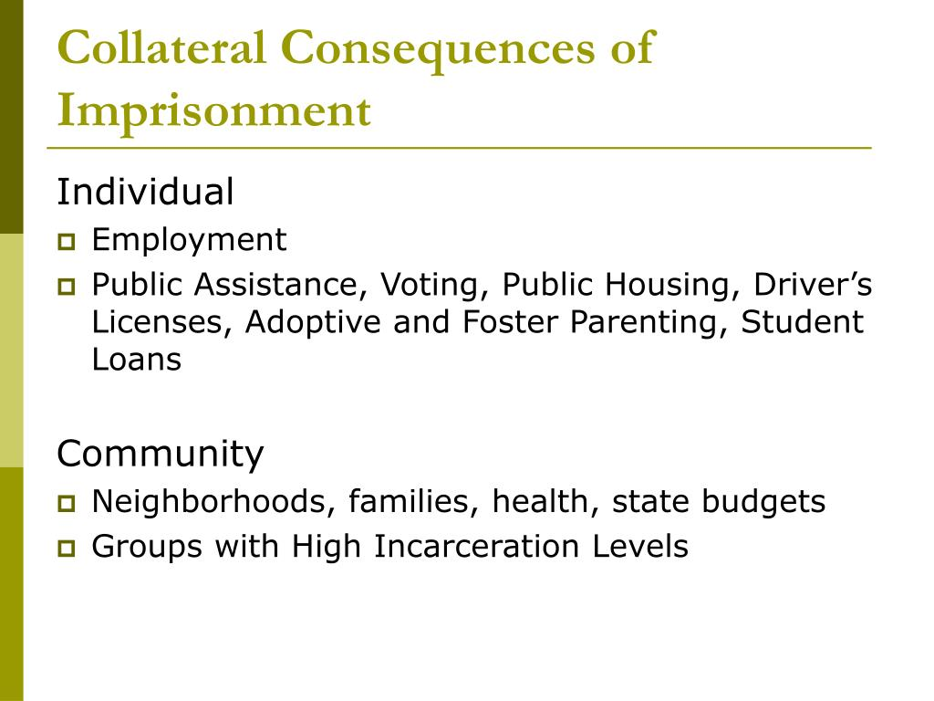 Collateral Consequences of Imprisonment