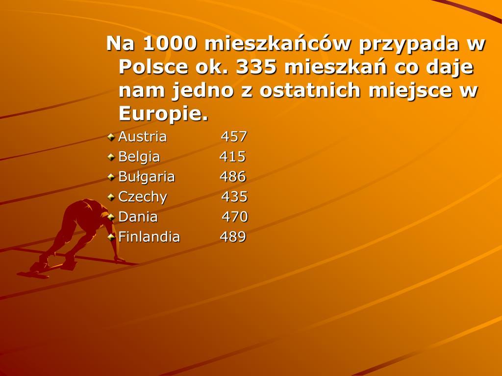 Na 1000 mieszkańców przypada w Polsce ok. 335 mieszkań co daje nam jedno z ostatnich miejsce w Europie.