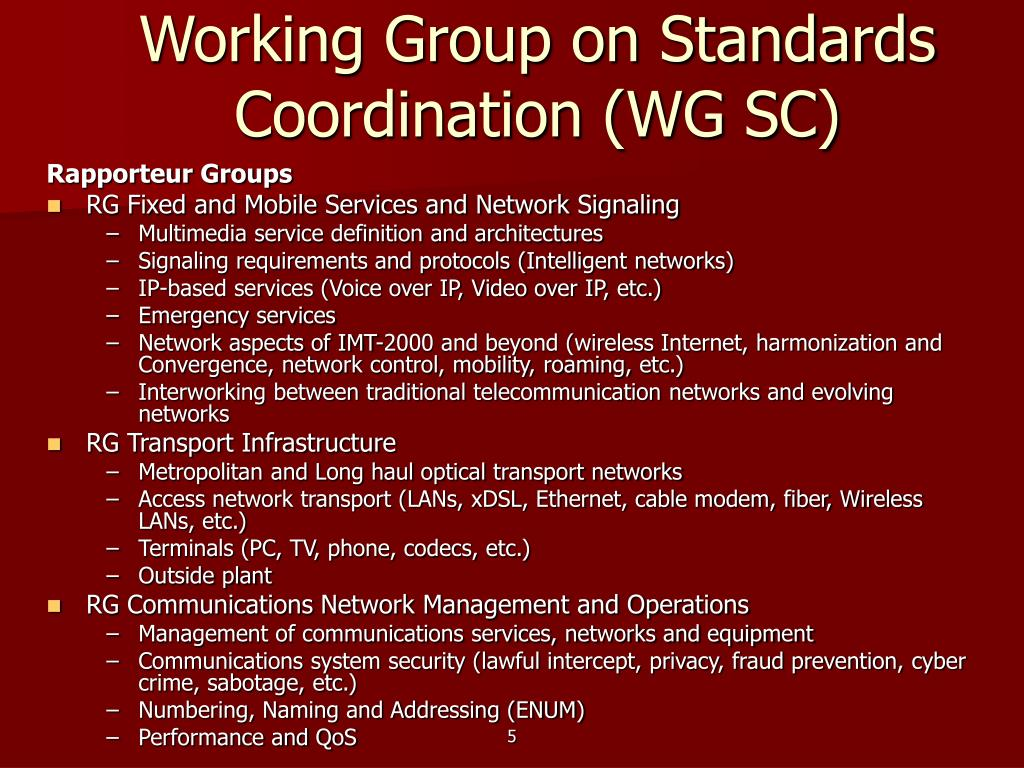 Working Group on Standards