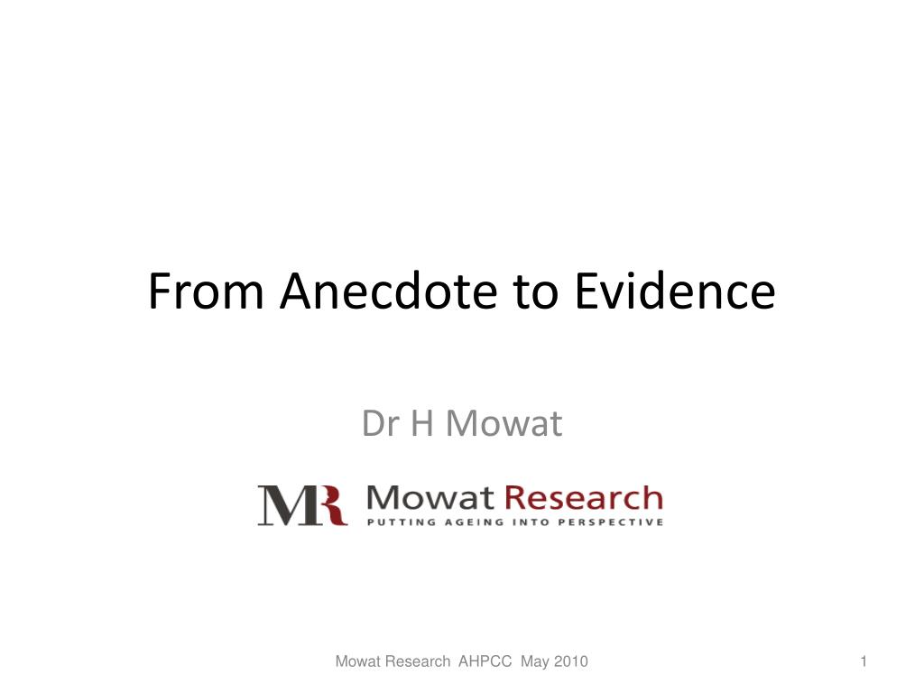 from anecdote to evidence l.