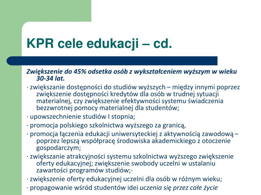 KPR cele edukacji –