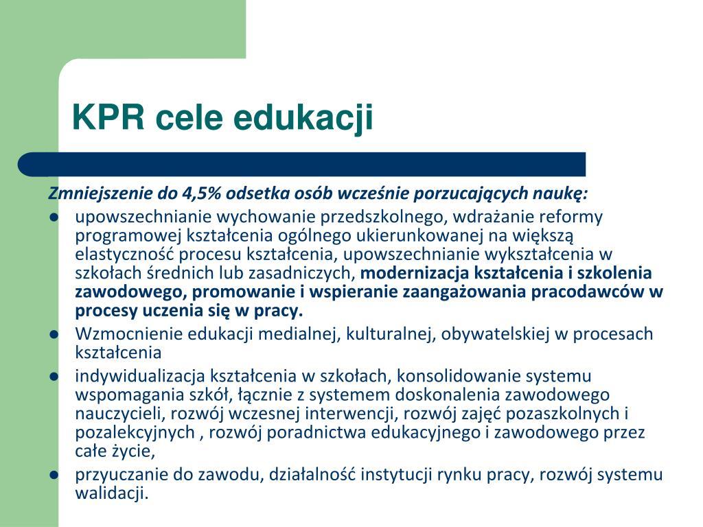 KPR cele edukacji